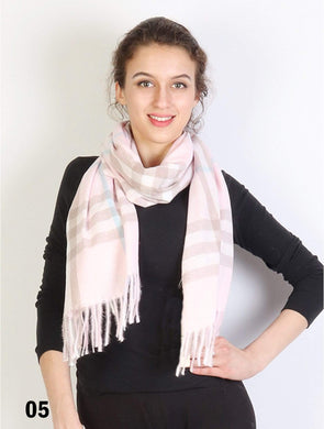 U at Home Bright Pink-Plaid Cashmere Feeling Scarf