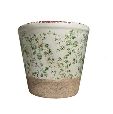 U at Home Ceramic Pot with green Floral Design-Medium