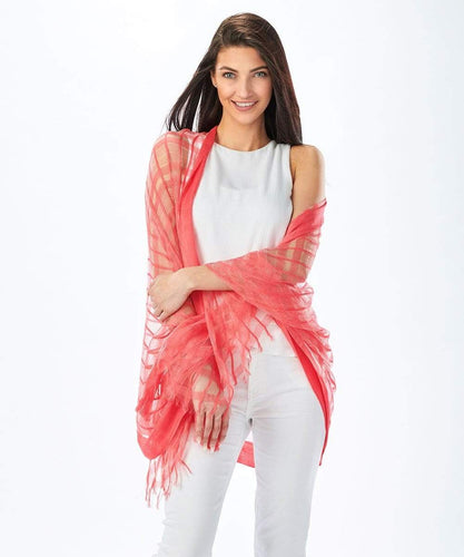 U at Home Coral-Fringe Scarf