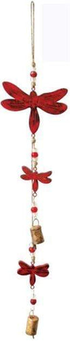 U at Home Dragonflies Vintage Red- Mango Wood Bell Chime