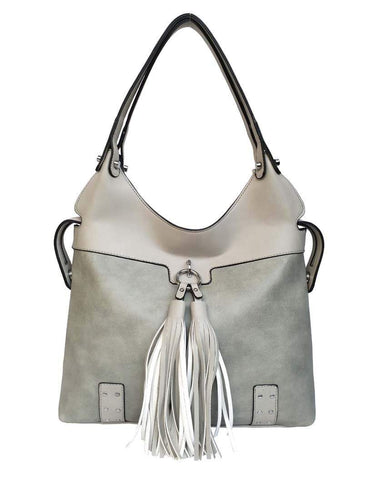 U at Home Hobo Bag w/tassel- Light Grey