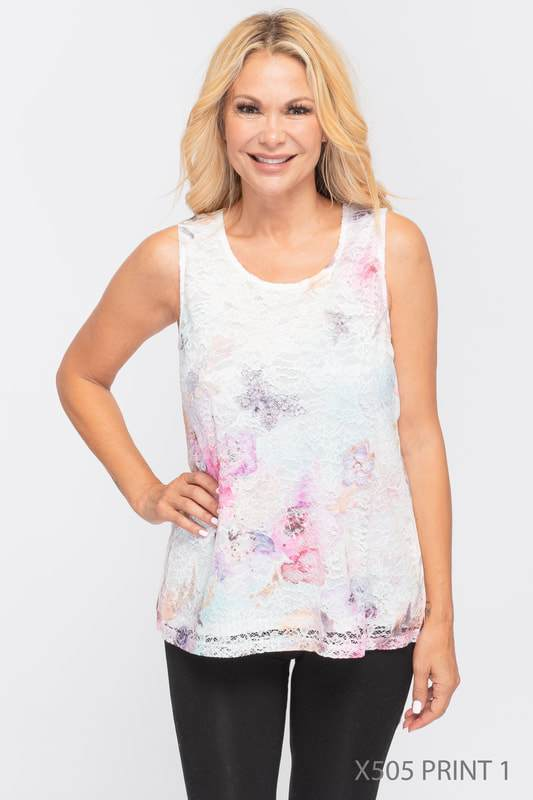 U at Home Lace Butterfly & Floral Tank Top