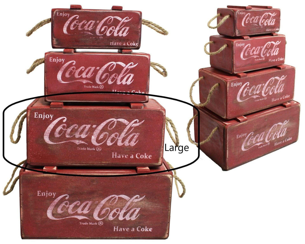 U at Home Large Wooden Red Coca Cola Box