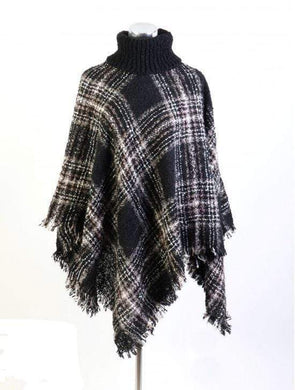 U at Home Loose Neck Poncho W/ Big Plaid-Black
