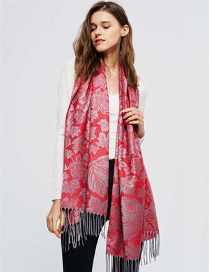 U at Home Maple Leaf print Pashmina-Red