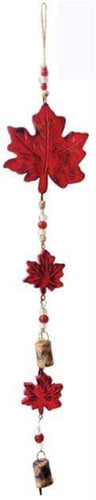 U at Home Maple Leaves Vintage Red- Mango Wood Bell Chime