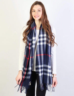 U at Home Navy-plaid cashmere feeling scarf
