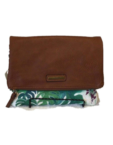 U at Home Paradise Canvas Foldover Clutch- Whisky