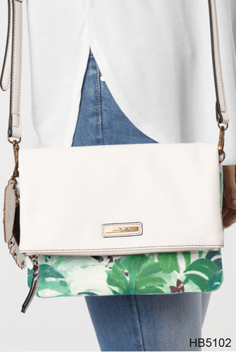 U at Home Paradise Canvas Foldover Clutch- White