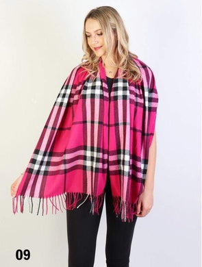 U at Home Plaid Cashmere Feeling Scarf-Fuschia