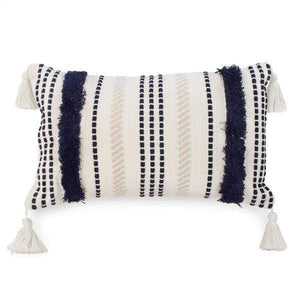 U at Home Striped beige/navy tufted cushion