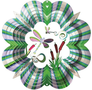 U at Home Wind Spinner-Small Green/Purple Dragonfly