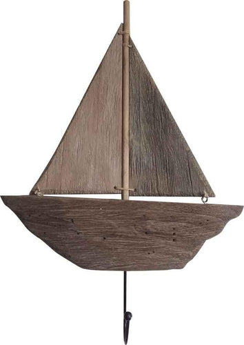 U at Home Wooden Sailboat with Coat Hook
