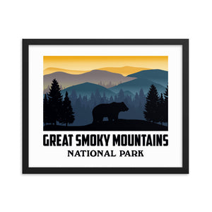 Vintage Great Smoky Mountains National Park Framed Poster