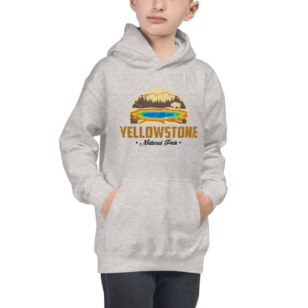 Yellowstone National Park Retro Kids Hoodie