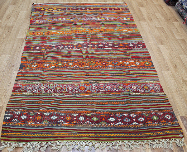HANDMADE TURKISH ANATOLIAN CICIM KILIM, NATURAL DYES 230 x 140 CM