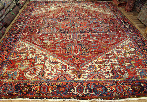 Antique Persian Heriz Carpet 13 x 10'4 feet