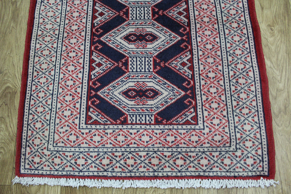 Handmade Persian Turkmen Tribal Rug 90 x 65 cm