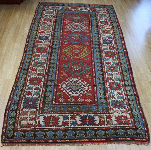 Antique Caucasian Kazak Long Rug