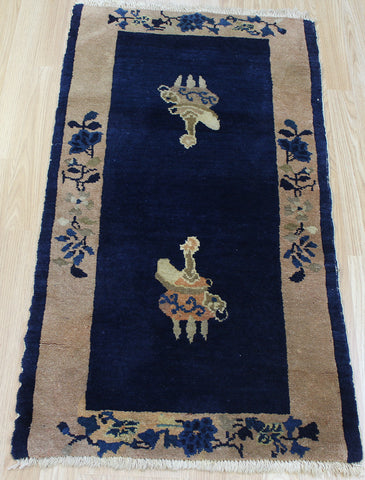 ANTIQUE HANDMADE CHINESE RUG 115 x 62 CM