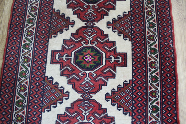 Old Handmade Persian Turkmen Tribal Rug 110 x 72 cm