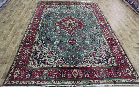 OLD HANDMADE PERSIAN TABRIZ GREEN CARPET 295 X 195 CM