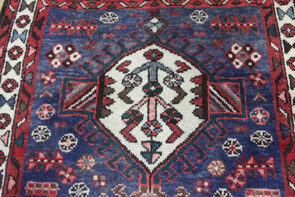 OLD HANDMADE PERSIAN KARAJEH BLUE RUNNER 290 x 97 CM