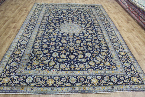 Signed Persian Kashan Blue Carpet 330 x 227 cm