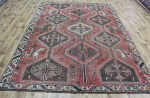 ANTIQUE PERSIAN QASHQAI SHIRAZ RUG 280 X 200 CM