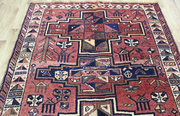 OLD HANDMADE PERSIAN SHIRAZ LONG RUNNER 407 x 125 CM