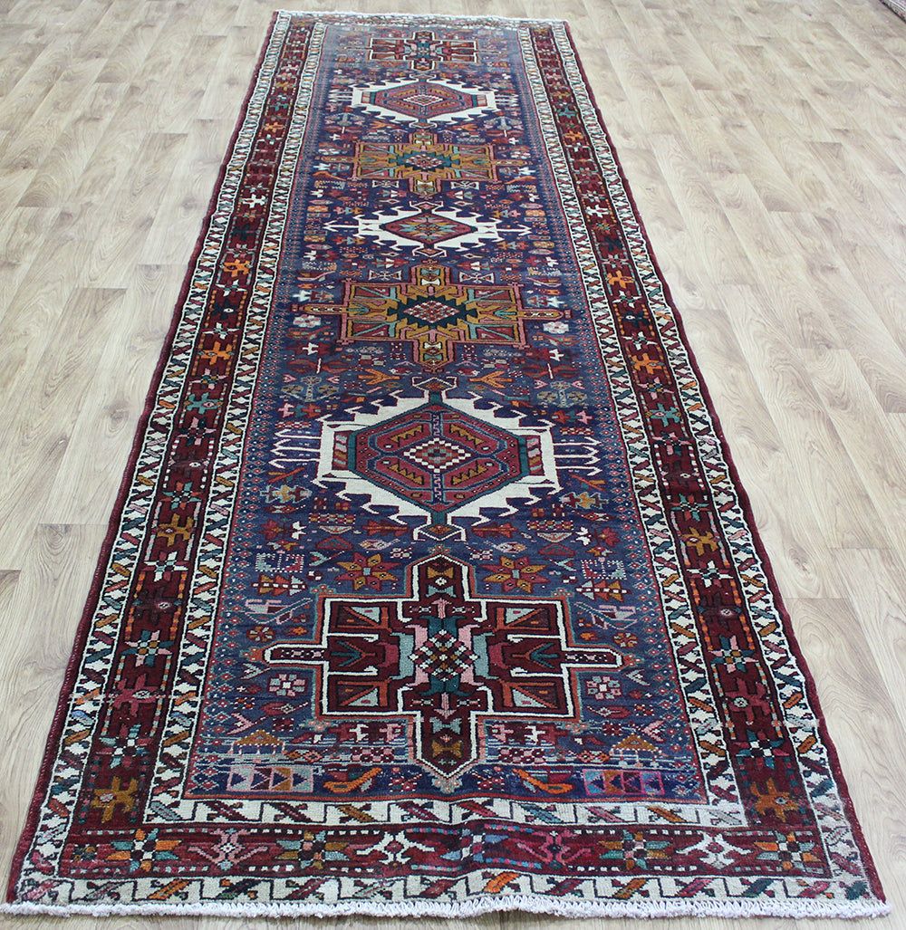 OLD NORTH WEST PERSIAN KARAJEH RUNNER, VERY HARD WEARING 397 x 114 CM