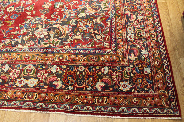 Old Handmade Persian Mashad Carpet 370 x 295 cm