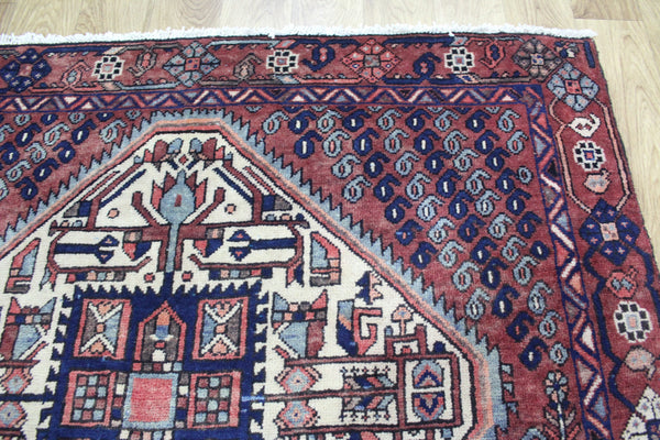 Antique Persian Afshar Rug Double Ivory Medallion 200 x 147 cm
