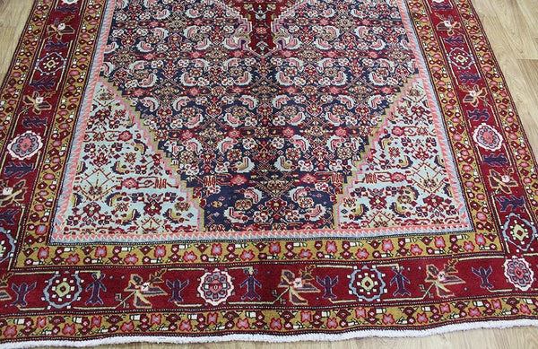 OLD PERSIAN BIJAR RUG WITH HERATI DESIGN, WONDERFUL COLOURS 285 x 188 CM