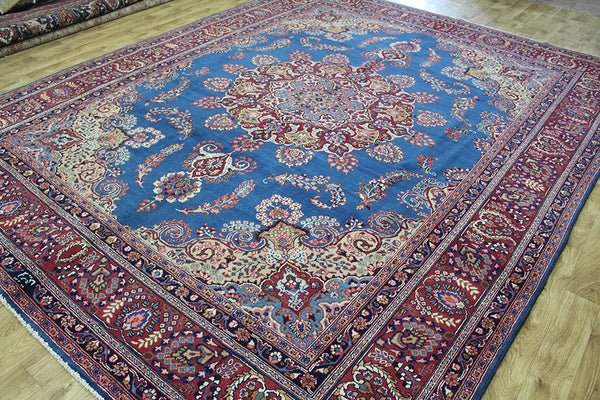 SIGNED HANDMADE PERSIAN MASHAD BLUE CARPET OUTSTANDING DESIGN 370 x 290 CM