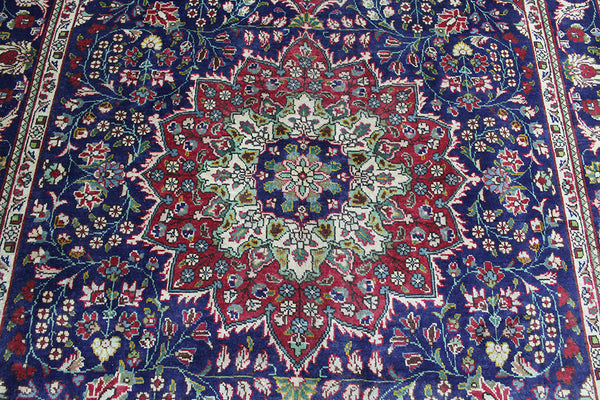 HANDMADE PERSIAN TABRIZ BLUE CARPET 304 x 205 CM