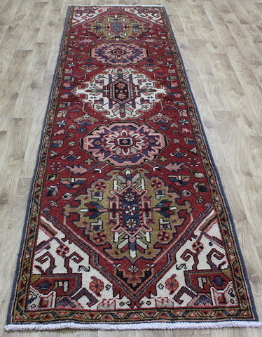 ANTIQUE NORTH WEST PERSIAN KARAJEH RUNNER, VERY HARD WEARING 302 x 85 CM