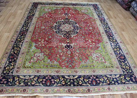 Old handmade Persian Tabriz Wool Carpet 295 x 205 cm