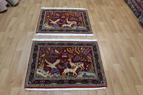 Outstanding Pair of Persian kashan Rugs of the Garden design 83 x 100 cm