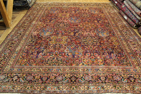 Antique Persian Dorokhsh Mashad Carpet Circa 1910