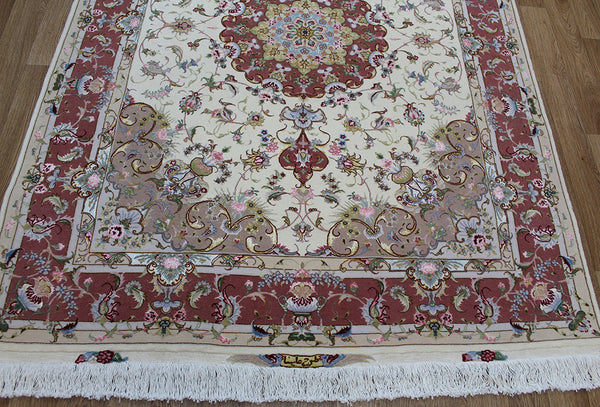 Signed Persian Tabriz Rug silk & wool 215 x 150cm