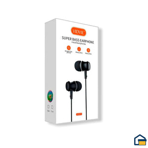 Vidvie audifonos Super Bass Earphone hs637 (Negro)
