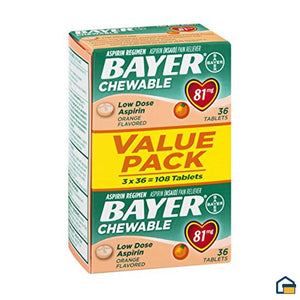 Bayer Aspirina de 81mg Masticable Sabor Naranja - 108 Tabletas