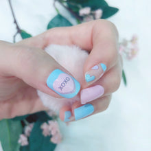 Load image into Gallery viewer, pastel candy heart nail wraps