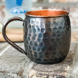 Barrel Hammered Antique Copper Mug