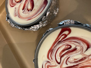 Individual sized Pomegranate Cheesecake