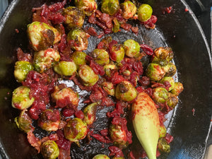 Roasted Brussels Sprouts with Cranberry Gastrique
