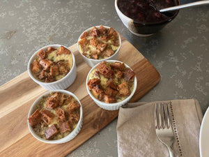 "Individual ""Stuffing"" Savory bread puddings"