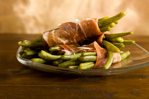 Prosciutto Wrapped Green Beans with Fried Onion Crumble