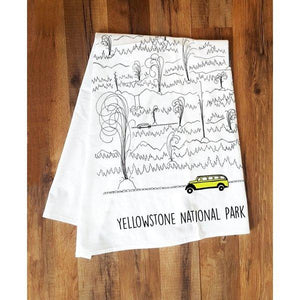 Corvidae Tea Towels: Yellowstone Jammer & Geyser - Zest Billings, LLC